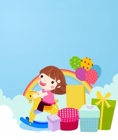 cartoon little red riding hood: little girl  Illustration