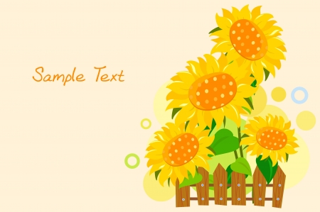 cartoon sunflower  Vector