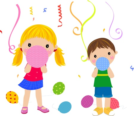 kids and balloon  Vector