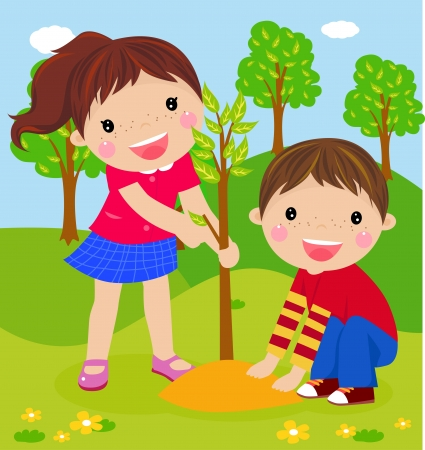 landscape gardener: boy and girl Illustration