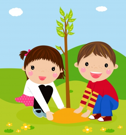Happy kids is planting small plant cartoon