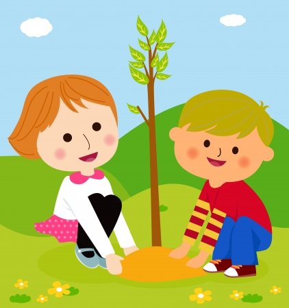 행복 한 아이 작은 식물 만화 심기