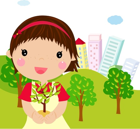 little girl and plant Vector