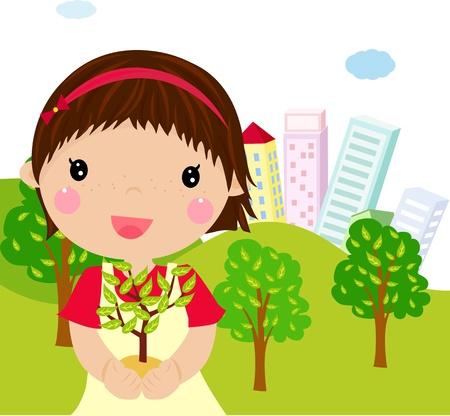 siembra: niña y vegetal Vectores