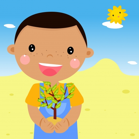 boy holding a plant  Vector