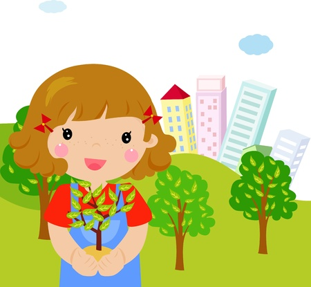 A cute girl with a tree   Vector