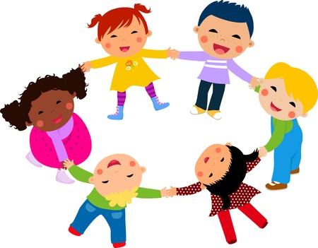 kids playing: Happy children hand in hand around-illustration