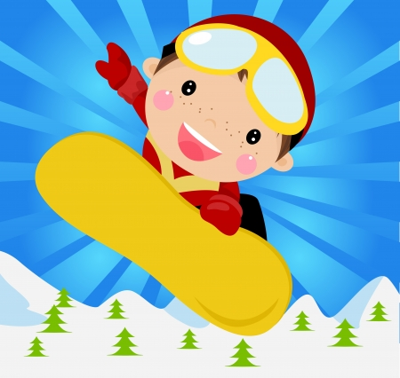A boy ski jumping