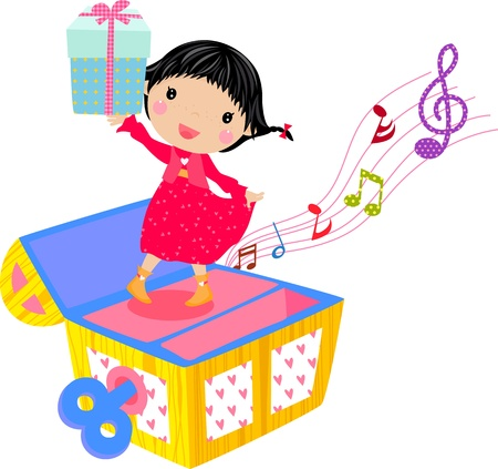 little girl with gift box  Vector