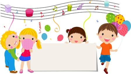musique dance: les enfants et les banni�res Illustration