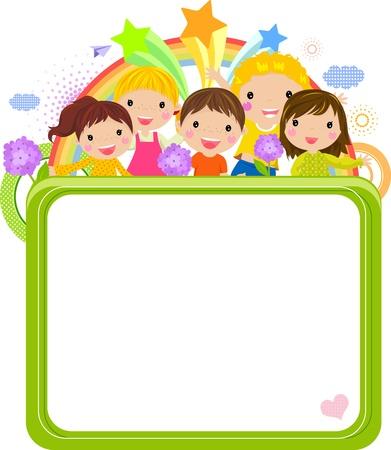 cartoon frame: Cute cartoon bambini telaio Vettoriali