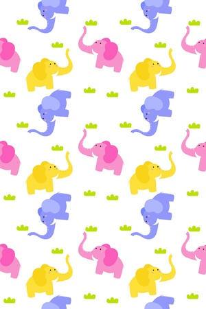 Stock Vector Illustration  Seamless cute elephant background  Vector