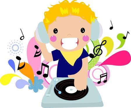 dj boy: Cartoon DJ boy - vector illustration