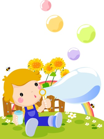 cute boy and playing bubbles Vector