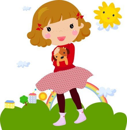 Little girl and dog Stock Vector - 14906250