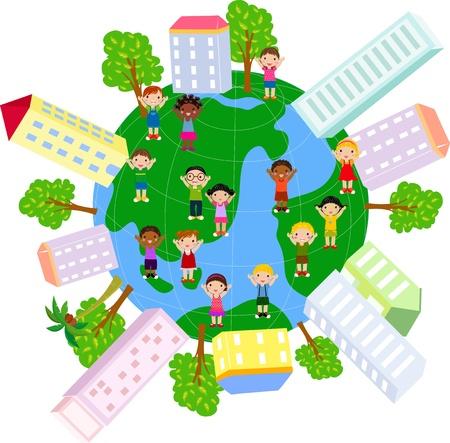 Enfants, maison et le globe Banque d'images - 20007914