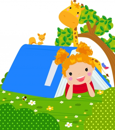 little girl on book tent  Vector