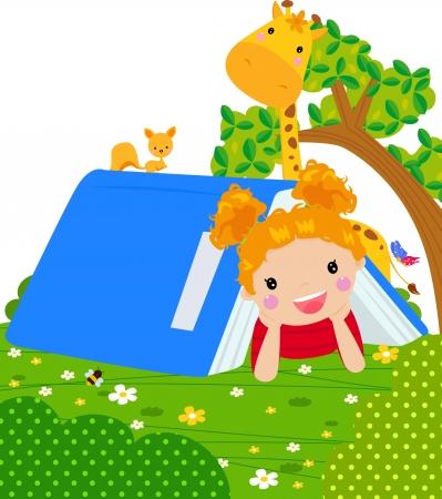 little girl on book tent Vector Illustration