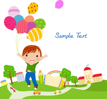 Cute little boy with balloons  Vector