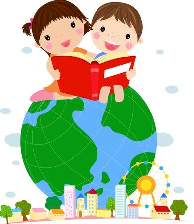 Kids Reading Book Sitting on Globe Vector Illustration