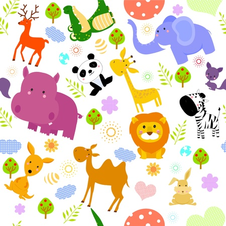 hippo: animal seamless wallpaper  Illustration