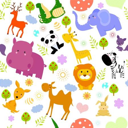 flusspferd: Tier seamless wallpaper Illustration