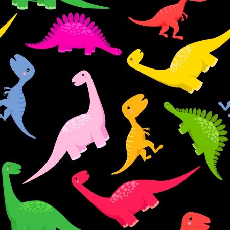 dinosaurio caricatura: patrón sin costura dinosaurio
