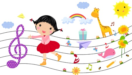 little girl and music  Vector