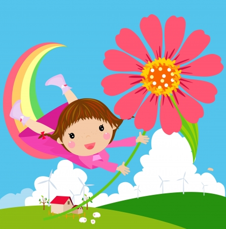 cute love: Little girl flies in the sky with flowers  Illustration