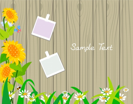 flowers on wood pattern  Vector