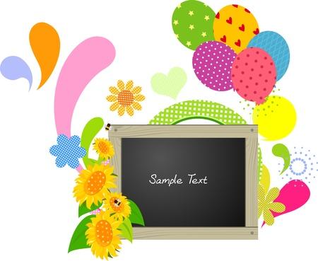 abstract flower balloon blackboard  vector illustration Vector