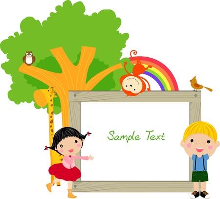 arcoiris caricatura: los niños y el marco