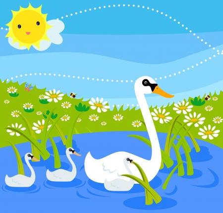 Swan family  Vector
