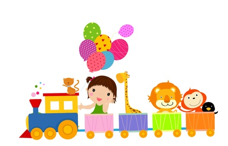 babies with toys: cute train and girl  Illustration