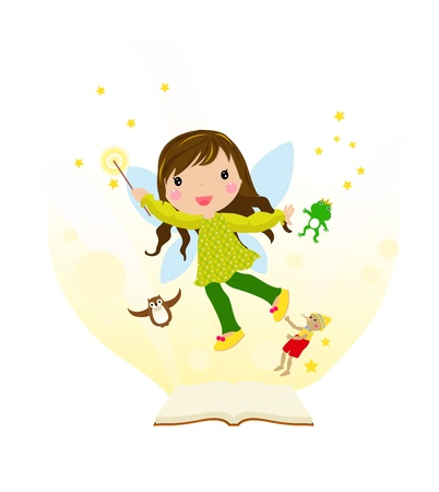 Open fairytale book and fairy flying above pages  Stock Vector - 14991780