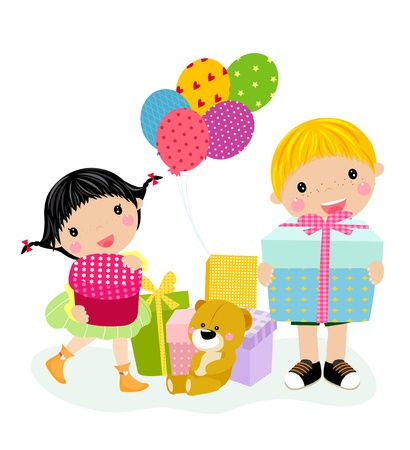 kids and gift box  Stock Vector - 14999094