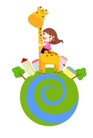 A little girl is sliding down a giraffe s neck  Vector
