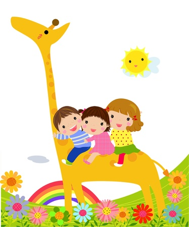 kids and giraffe  Vector