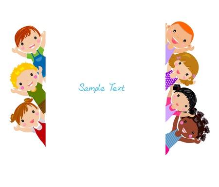 niños felices: Los niños de dibujos animados lindo marco Vectores