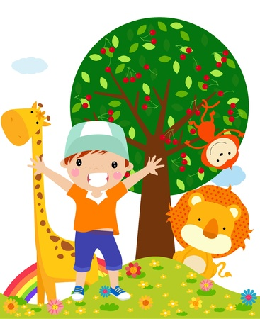 giraffe cartoon: kid and animal