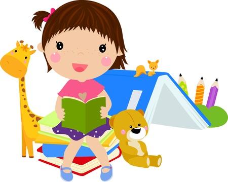 cute girl reading book Stock Vector - 14991678