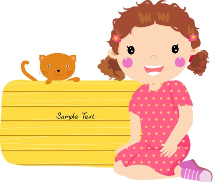 girl and banner  Vector
