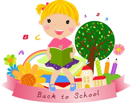 cute little girl,back to school  Vector