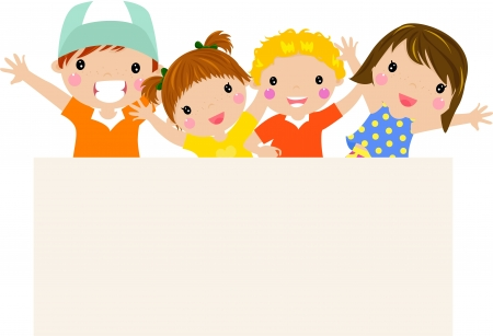 kids and banner Stock Vector - 14990503