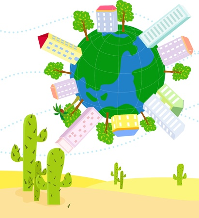 Globe and house  Vector