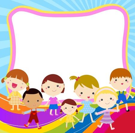 preschool: kids and frame