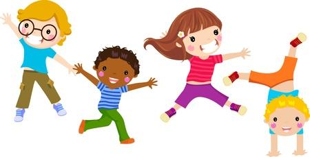 midair: four cute little kids