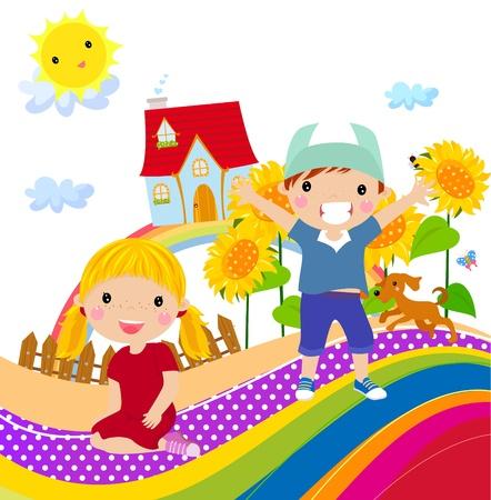cartoon jongen: jongen en meisje