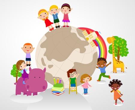 Enfants et glboe Banque d'images - 20662114