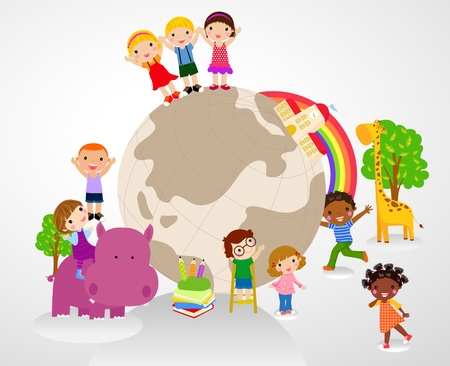 hands holding earth: kids and glboe
